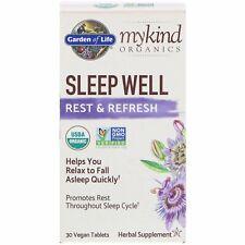 Organic Sleep Well Rest & Refresh by Garden of Life MyKind 30 Vegan Tablets