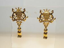 Premier Designs Sheild Crown Rearing Horses Gold Tone Chandelier Earrings 1.5""