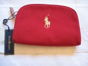 Ralph Lauren small red canvas cosmetic case / bag