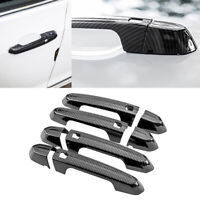 8x Carbon fiber ABS Side Door Handle Cover Trim Fit for Cadillac ATS 2014-2018