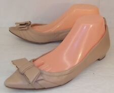 Ivanka Trump Womens Shoes ABELLO US 8.5 M Nude Leather Bow Slip-On Low Heels