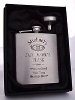Personalised JACK DANIELS Hip Flask Gift For Boys/18th/21st/30th/40th Birthday