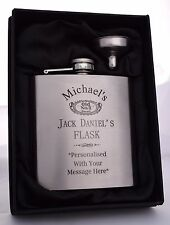 Personalised JACK DANIELS Hip Flask Gift 18th/21st/40th/Birthday/Fathers Day/Dad