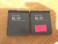 Lot of 2pcs BL-5F Battery for Nokia N72 N78 N95 N93i E65 6210 6260S 6290