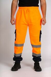Hi Viz Vis Jogging Bottoms Safety Work Sweat Pants Fleece Trousers Joggers S-5XL