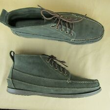 Bass US 14.5 D Ankle Boot Moccasin Moc Toe Lace Up Suede Green