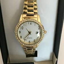 Women's Classic Stainless Steel Gold Tone Watch Stretchy Date