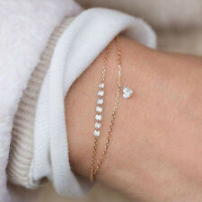 Women 2Layers Gold Silver Love Crystal Heart Bracelet Engagement Wedding Jewelry