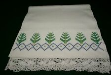 White Textured linen with cross stitched holiday pattern