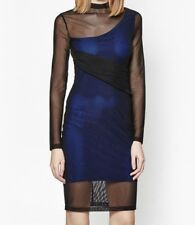 French Connection Party Dress UK 6 Bodycon Electric Blue Black Style Mia
