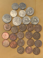 Old Canada Coin Lot - Pennies ,Dimes And Quarters- Mixed Dates