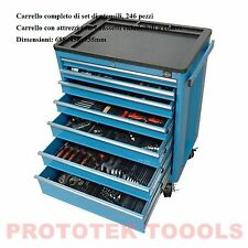 Carrello completo di set di utensili, 246 pezzi con 7 cassetti 688x458x735mm