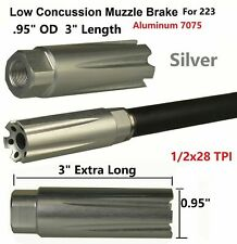 Competition 1/2x28 Thread Low Concussion Muzzle Brake Compensator For .223 Silve