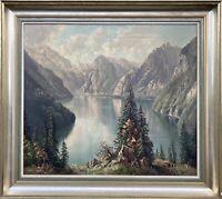 Alpensee Bayern Königssee Hans Otto Kraus (1907-1995) 87 x 97 cm Schönau Ölbild