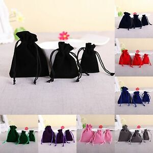 5/20/50 Velvet Bags Jewellery Wedding Party Favor Gift Drawstring Pouches