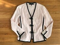 ST JOHN SPORT pale pink black piping jacket sz P