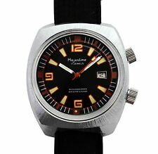 Vintage 60s Majestime Super Compressor Rotating Bezel Two Crown Divers Watch