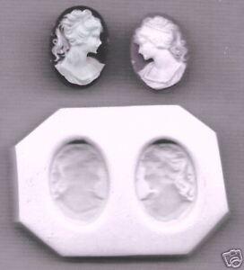2 Cameos Elegant Lady R & L Handmade Polymer Clay Push Mold Set
