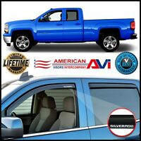 For 14-19 Silverado Double Cab Window Deflectors Vents Visors Shade In Channel