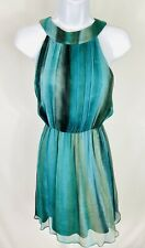 Alice + Olivia Size XS Womens Sleeveless Silk Dress Greens Crepe Layered Flaws