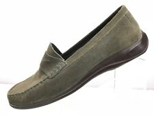 Cole Haan Air Penny Loafer Olive Dark Green Suede Womens Shoe Size 8.5B