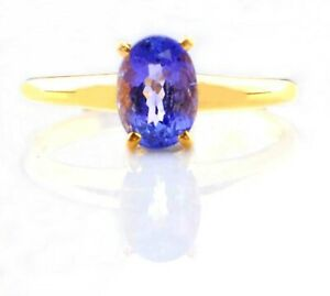 2.00Ct Oval Shape AA Natural Tanzania Tanzanite Women's Ring In 14KT White Gold