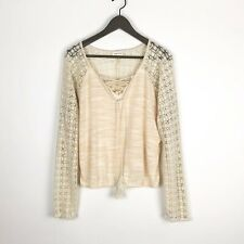Anthropologie Meadow Rue Women's Top Medium Ivory Lace Up Peasant Crochet Blouse