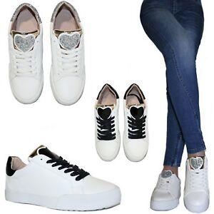 Scarpe donna Sneakers Cuore Ginnastica Glitter Platform Zeppa 3 Stringate B62