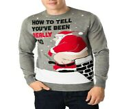 New Men's Lads Funny Rude Novelty Festive Bad Santa Father Christmas Xmas Jumper