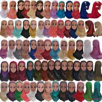 Kids Hijab Girl Lace Amira One Piece Cap Hat Islamic Muslim Headscarf Shawl Wrap