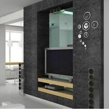 Wall Clock Watches Sticker 3d DIY Mirror Surface Modern Home Office Art Decor Gold