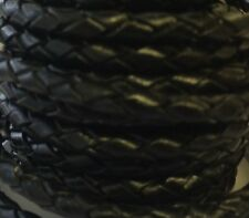 Black Genuine Plaited Leather cord 5mm thickness x 1 metre excellent quality