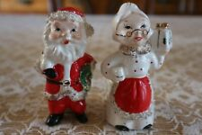 """Vintage,""""Commordore& #034;, Mr. And Mrs. Clause Candle Stick Holders w/ Spaghetti Trim"""