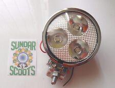 """1  12v  3.5"""" SPOT LIGHT 3 LED BULBS.CLEAR LENS CHROMED CASING.LAMBRETTA/VESPA"""