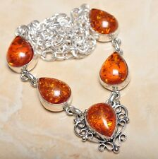 "Handmade Baltic Faux Amber Gemstone 925 Sterling Silver Necklace 19.5"" #N00577"
