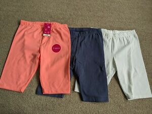 Girls Three Pairs Of Cycling style Shorts Age 8-9 Two New.White Pair Worn Once