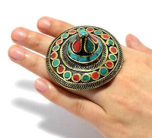 Afghan Ring Kuchi Tribal Ethnic Jewelry Dome Boho Bohemian Umbrella Multicolor