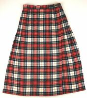 1960s Young Pendleton Wool Wrap Skirt Women Size 4 Red White Green Plaid Vintage