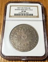 1837 South Peru MS 8 reales Cuzco CUZ Cusco silver republic NGC XF40 RARE RARA!