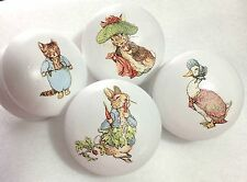 Handpainted Beatrix Potter Peter Rabbit Large White 2 Inch Drawer Knobs x 4