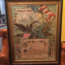 WWI Service Award Lithograph RARE HTF Woodrow Wilson Dan Smith Original Antique