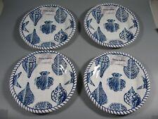 "4 Tommy Bahama Melamine Plates Blue Roped Sea Shells 9"" NEW"