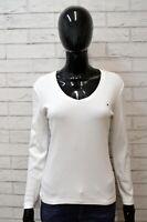 TOMMY HILFIGER Maglione Maglia Donna Taglia Size S Pullover Bianco Sweater Shirt