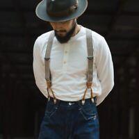Bronson Long Sleeve Henley Shirt Vintage Button Down Men T-Shirt Tops Navy White