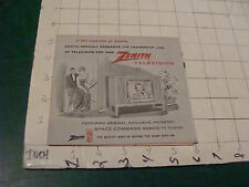 Orig vintage paper item; ZENITH TELEVSION 1959 OPENING CATALOG SHEET W some pric