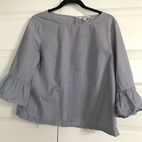 MADEWELL Womens Blue White Pinstriped Ruffle Bell 3/4 Sleeve Top Blouse Medium