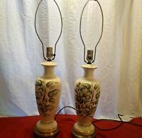 PAIR VINTAGE 50'S PORCELAIN HAND PAINTED LAMPS MAGNOLIA FLOWERS SIGNED SUZETTE