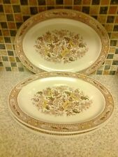 4 X Ridgway Canterbury PINK oval serving platters steak plates Vintage ironstone