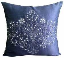 Decorative 18x18 inch Silk Sofa Cushion Cover Blue, Crystal - Crystal Damask