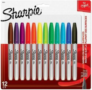 SHARPIE Fine Point Permanent Markers - 12 ct - ASSORTED COLORS